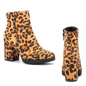 Olivia Miller 'Fly' Bootie Ankle Boots Leopard